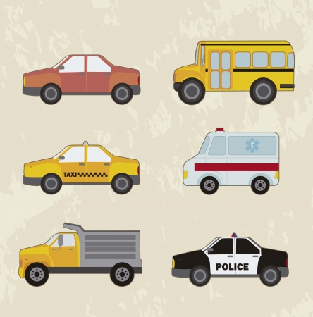 cute cars set, vintage style.  Vector