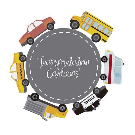 cars over street in circular shape, transportation. Stock Vector - 15667662
