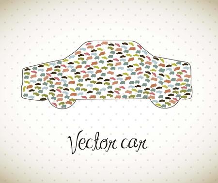 предмет коллекционирования: милый автомобиль с винтажном стиле, транспорт. Иллюстрация