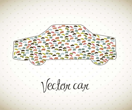 collectible: cute car with vintage style, transport.