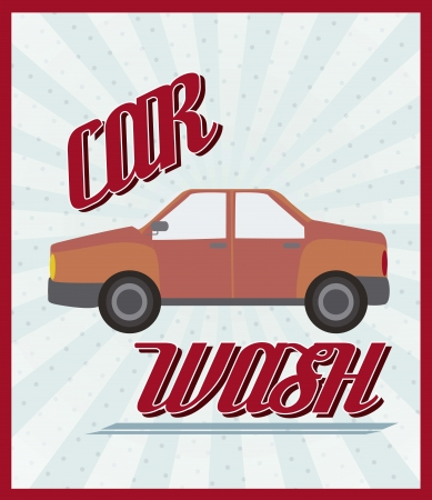 waxing: car wash announcement with vintage style.
