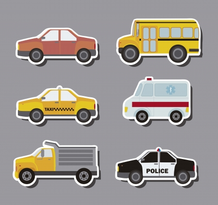 emergency icon: stickers cars over gray background