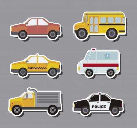 transport scolaire: voitures des autocollants sur fond gris Illustration