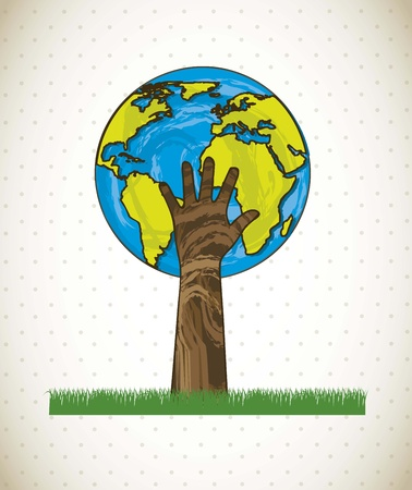hand and planet, tree concept. Illustration
