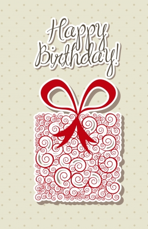 happy birthdya card with cute gift.  Vector