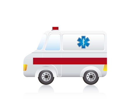 cross street with care: ambulance cartoon with shadow over white background. vector
