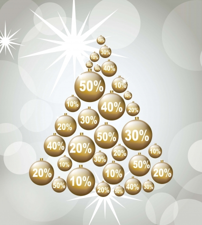 Christmas tree with discount, Christmas sale. Stock Vector - 15668157