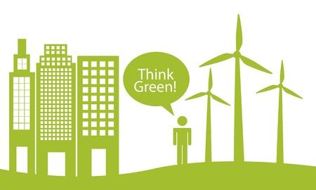 verdant: ecology city with man, think green. Illustration