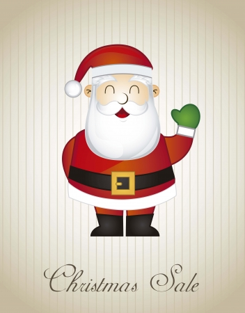 christmas sale with santa claus over vintage background Stock Vector - 15667666