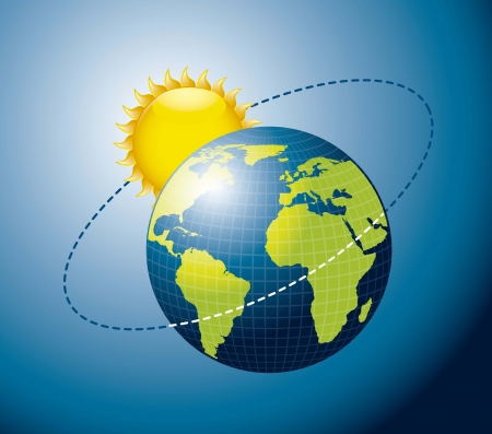 axis: Earth movement around the Sun over blue background.