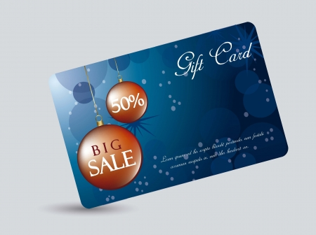trumpery: blue gift card with Christmas balls.