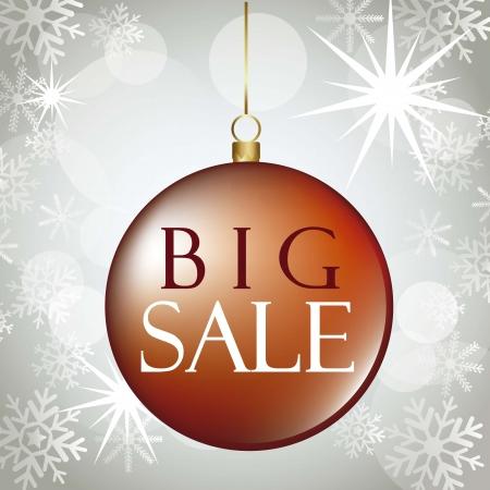 christmas ball over gray, big sale Vector