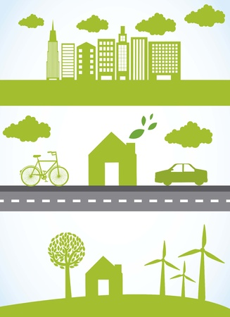 clean street: green city with car and bike, ecology.