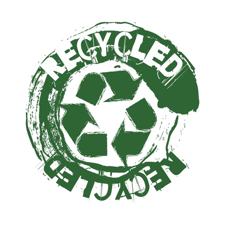 green recycled seal over white background. Vector