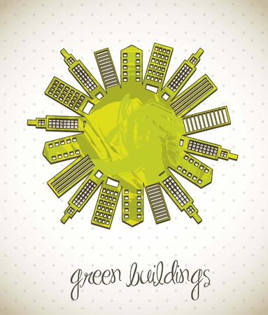 verdant: green buildings over vintage background.  Illustration