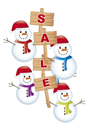 kerst markt: sneeuwman met aankondiging verkoop over witte achtergrond. Stock Illustratie