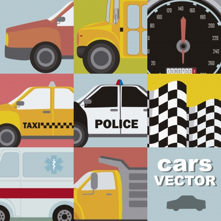 cute cars with vintage style, close up.  Vector