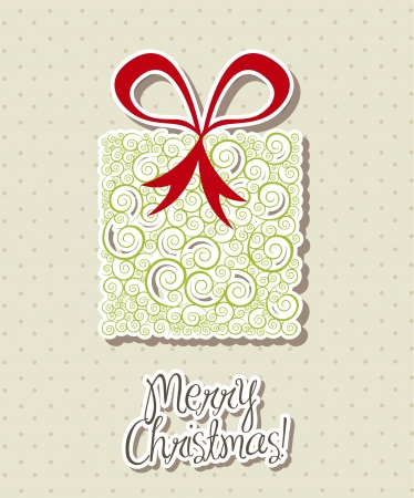cute gift over beige background, merry christmas.  Vector