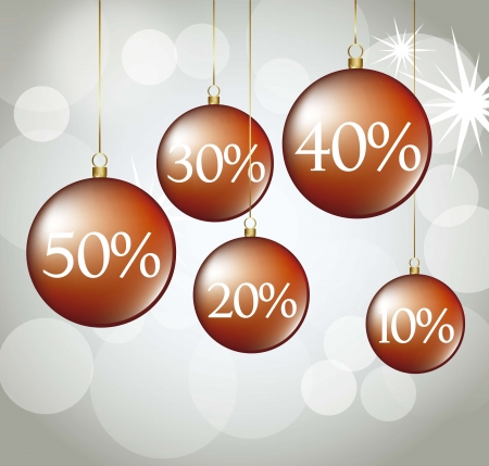 red Christmas balls with discounts. Vector
