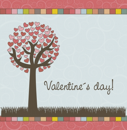 tree with hearts, valentines day card.  Vector