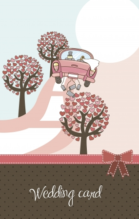 just married: cute landscape with car and trees, wedding card.