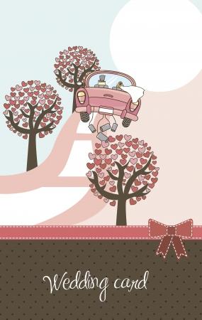 recien casados: lindo paisaje con �rboles, autom�viles y tarjetas de boda. Vectores