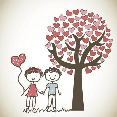 sotto l albero: coppia cute sotto albero cartone animato, vintage.