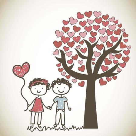 cute couple under tree cartoon, vintage. Vektorgrafik