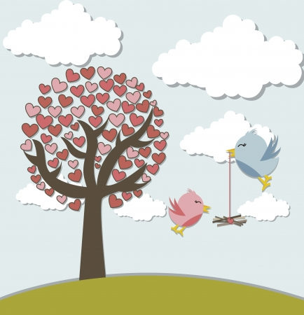 corazones: love birds with tree and cute landscape.