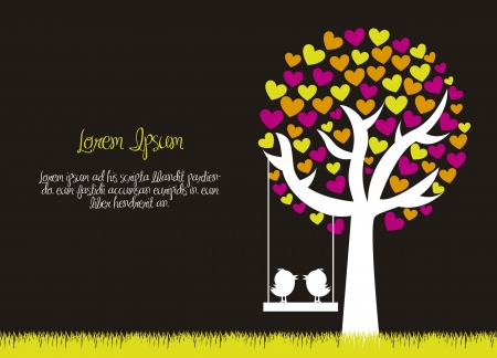 feb: love tree with birds over grass, black background. vector Illustration