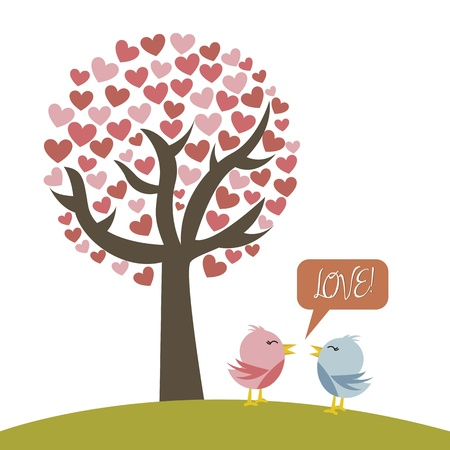 cute love birds with tree over white background.