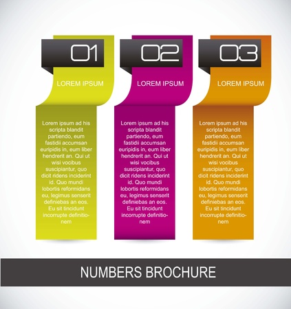 colorful numbers brochure over white background. Stock Vector - 15787156