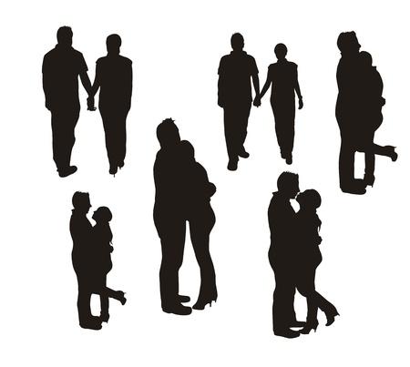 siluetas de enamorados: silueta pareja aislada sobre fondo blanco. Vectores