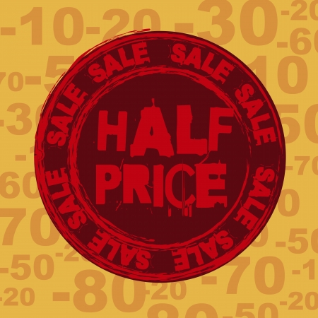 half price: half price seal over orange background.