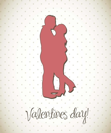 couple silhouette, valentines day card.  Vector