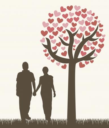 sotto l albero: coppia sotto l'albero, stile vintage. Vettoriali