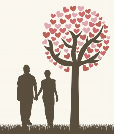 hand red: couple under tree, vintage style.  Illustration
