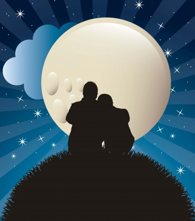 couple silhouette in the night.  Vector