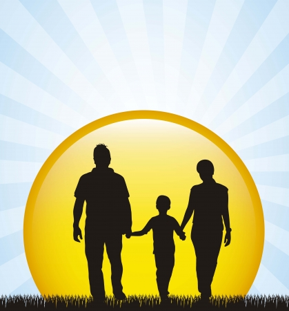 family silhouette over grass background.  Vector