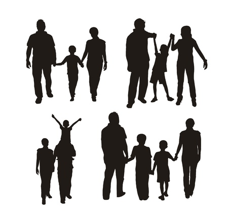ove: family silhouette isolated ove white background.
