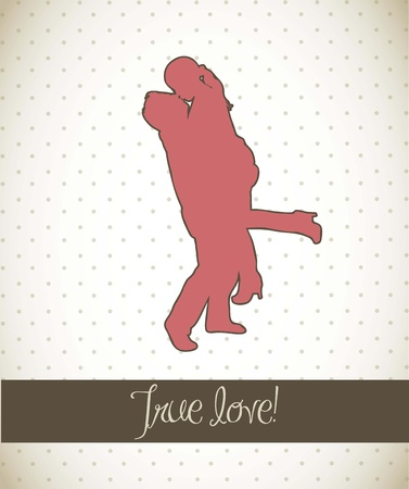 couple silhouette over vintage background.  Vector
