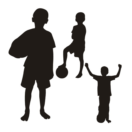 children silhouette isolated over white background.  Vector