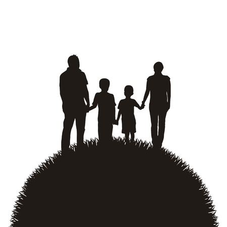 family holiday: family silhouette over grass background.