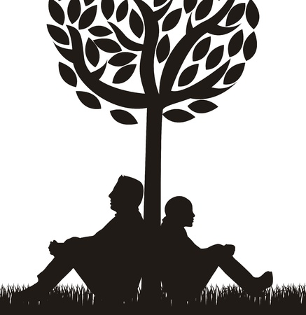couple under tree over white background.  Vector