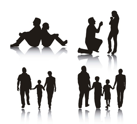 people sitting: couple and family silhouette over white background.