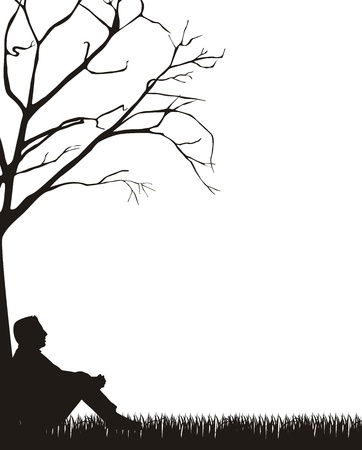 man sitting silhouette over grass, white background.