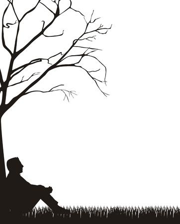 sitting meditation: man sitting silhouette over grass, white background.