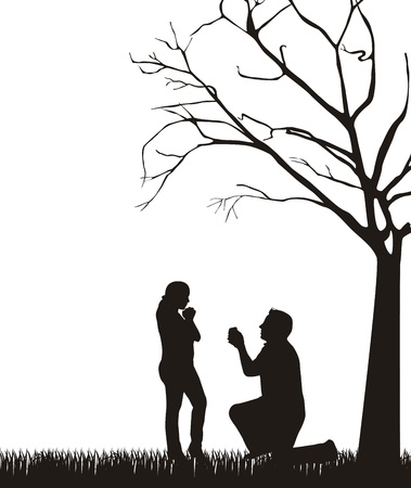 proposal: couple silhouette under tree over white background.