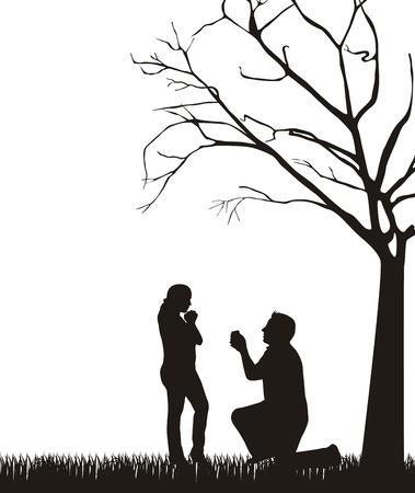 ajoelhado: silhueta do casal sob a árvore sobre o fundo branco.