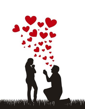 ajoelhado: silhueta do casal com corações, casamento proposta.